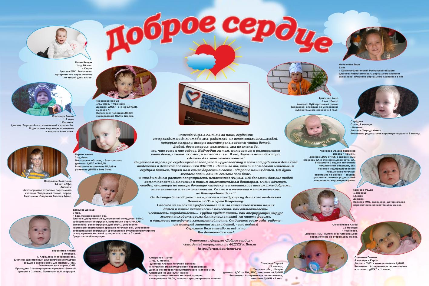 Плакат с благодарностью коллективу Пензенского кардиоцентра от родителей маленьких пациентов